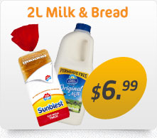 2L Milk and Bread for $6.99