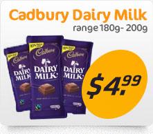 Cadbury dairy milk range
