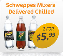 Schweppes mixtures delivered chilled to you doorstep with Buddys express delivery
